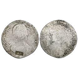 La Comandancia Militar, small LCM countermark on a Zacatecas, Mexico, bust 8 reales, Ferdinand VII,