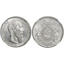 Mexico City, Mexico, 1 peso, Maximilian, 1866, NGC MS 63.