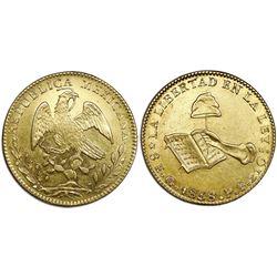 Guanajuato, Mexico, gold 8 escudos, 1858PF.