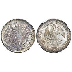 Durango, Mexico, cap-and-rays 8 reales, 1879TB, NGC MS 64.