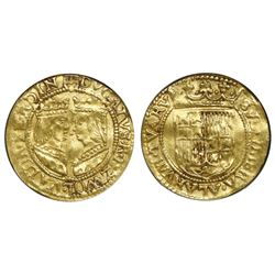 Zwolle, Spanish Netherlands, gold ducat, (1590-97), dot between busts, NGC XF 45.