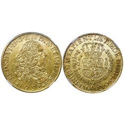 Lima, Peru, bust gold 8 escudos, Ferdinand VI, 1753J, NGC AU 50.
