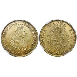Lima, Peru, bust gold 8 escudos, Ferdinand VI, 1759JM, NGC AU 53.
