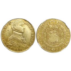 Lima, Peru, bust gold 8 escudos, Ferdinand VII transitional (uniformed bust), 1811JP, NGC XF 45.