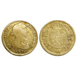 Lima, Peru, bust gold 1 escudo, Charles III, 1776MJ.