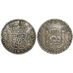 Lima, Peru, pillar 8 reales, Ferdinand VI, 1755JM.