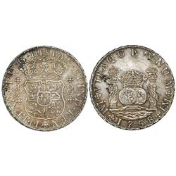 Lima, Peru, pillar 8 reales, Ferdinand VI, 1758JM, dot over both mintmarks.