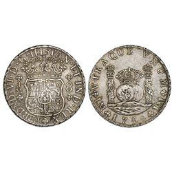 Lima, Peru, pillar 8 reales, Ferdinand VI, 1759JM, dot over both mintmarks.