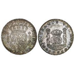 Lima, Peru, pillar 8 reales, Charles III, 1764JM, dot over left mintmark only (rare).