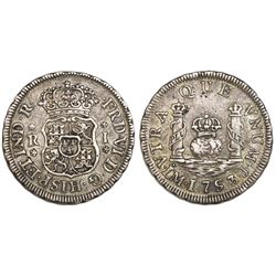 Lima, Peru, pillar 1 real, Ferdinand VI, 1753J.