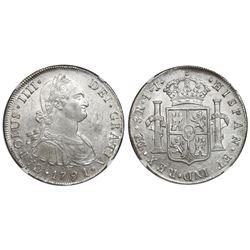 Lima, Peru, bust 8 reales, Charles IV, 1791IJ, NGC MS 61.