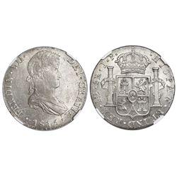 Lima, Peru, bust 8 reales, Ferdinand VII, 1815JP, NGC MS 63.