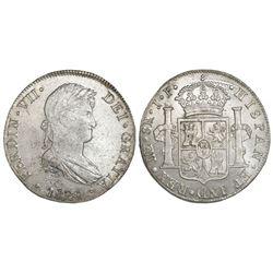 Lima, Peru, bust 8 reales, Ferdinand VII, 1820JP.