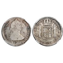"Lima, Peru, bust 4 reales, Charles III, 1775MJ, ""GARTIA"" error, NGC F 12."