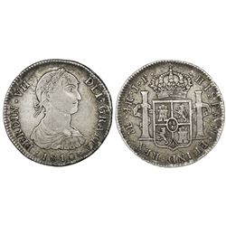 "Lima, Peru, bust 4 reales, Ferdinand VII (""imaginary"" bust), 1810JP, rare."