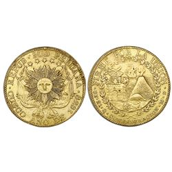 Cuzco, South Peru, gold 8 escudos, 1838MS.