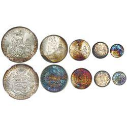 Lima, Peru, five-coin silver denomination set of 1 sol (1891TF, NGC MS 64), 1/2 sol (1915FG-JR), 1/5
