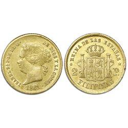 Philippines (under Spain), gold 2 pesos, Isabel II, 1861/0, NGC AU 55.