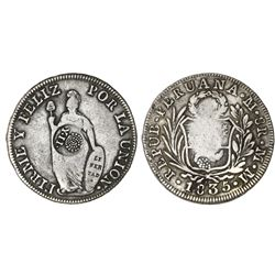 Philippines (under Spain), 8 reales, Isabel, crowned Y-II countermark (1834-37) on a Lima, Peru, 8 r
