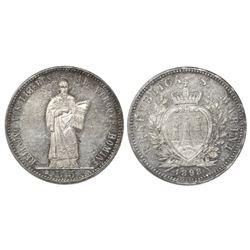 San Marino, 5 lire, 1898R, NGC MS 60.