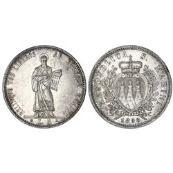San Marino, 5 lire, 1898R, NGC AU 58.