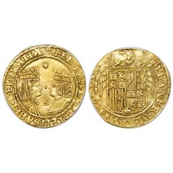 Seville, Spain, gold double excelente, Ferdinand-Isabel, eight-point star at top, dot in middle and