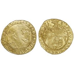 Seville, Spain, gold double excelente, Ferdinand-Isabel, four dots in cross-shape at top and mintmar