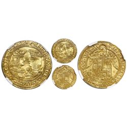 Toledo, Spain, gold double excelente, Ferdinand-Isabel, T to left and cross of five dots flanking sh