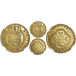 Seville, Spain, milled gold 8 escudos, Philip V, 1729P, NGC AU 58.