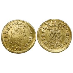 Madrid, Spain, bust gold 1/2 escudo, Ferdinand VI, 1758JB.