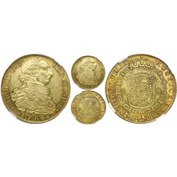 Madrid, Spain, bust gold 8 escudos, Charles III, 1786/74DV, NGC MS 61, finest known in NGC census.