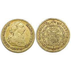 Madrid, Spain, bust gold 2 escudos, Charles III, 1775PJ.