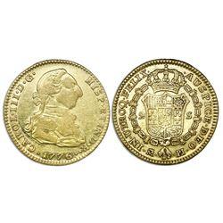 Madrid, Spain, bust gold 2 escudos, Charles III, 1776PJ.
