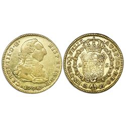 Madrid, Spain, bust gold 2 escudos, Charles III, 1776PJ.