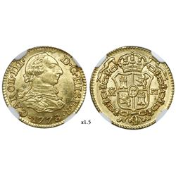 Madrid, Spain, bust gold 1/2 escudo, Charles III, 1778PJ, NGC MS 64.