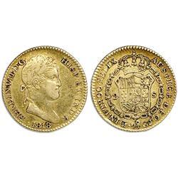 Madrid, Spain, bust gold 2 escudos, Ferdinand VII, 1818GJ.