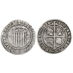 Zaragoza, Spain, 1 real, 1520LS, Gothic legends, five bars in shield, rare.