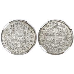 "Seville, Spain, milled 1 real ""half pistareen,"" Philip V, 1726J, NGC MS 64."