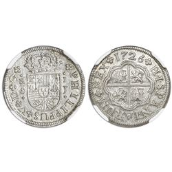 "Seville, Spain, milled 1 real ""half pistareen,"" Philip V, 1726J, NGC MS 64."