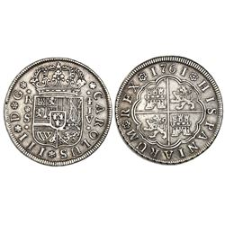 """Seville, Spain, milled 4 reales """"double pistareen,"""" Charles III, 1761JV."""