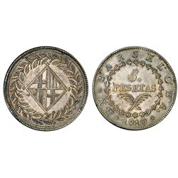 Barcelona, Spain, 5 pesetas, 1810, PCGS AU55.