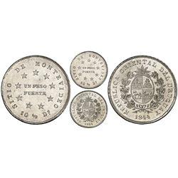 Montevideo, Uruguay, 1 peso, 1844, medal alignment, rare, PCGS MS63+, ex-Canaparo.