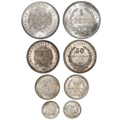 Four-coin denomination set of Uruguay (struck at the Paris mint) coins of 1877-A in PCGS slabs: 1 pe