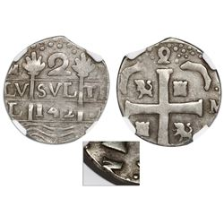 """Caracas, Venezuela, 2 reales """"imitation cob,"""" date as 142 date (early 1800s), struck over a Spanish"""