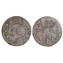 Caracas, Venezuela, copper 1/4 real, Ferdinand VII, 1821.