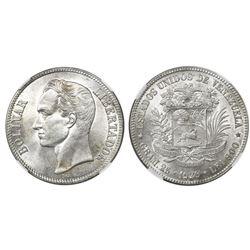 Venezuela (struck at the Philadelphia mint), (5 bolivares), 1929 (low 9), NGC MS 60.
