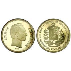 Venezuela (Banco Central), proof gold 10,000 bolivares, 1987, Bolivar (Barre).