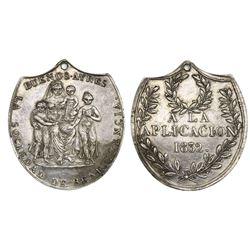 Buenos Aires, Argentina, silver medal, 1852, Premio a La Aplicacion (prize), Sociedad de Beneficenci