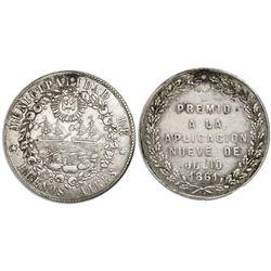 Buenos Aires, Argentina, silver medal, 1861, Premio a La Aplicacion (prize), by Rosario Grande.