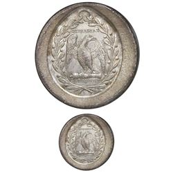 Colombia, oval silver uniface medal trial strike (on a round flan), GIBRALTAR DE AMERICA, (ca. 1825)